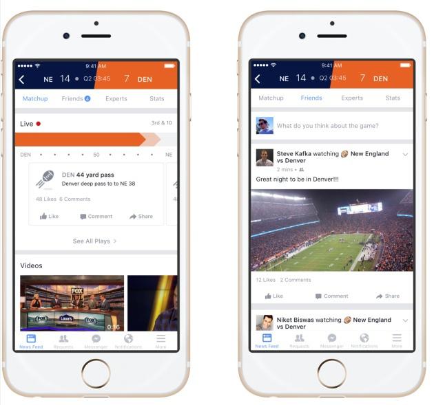 Facebook lança plataforma de esportes em tempo real