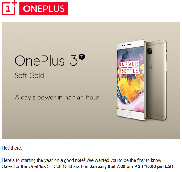 OnePlus 3T in gold color will soon arrive in the United States
