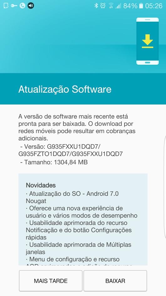 Enfim! Galaxy S7 Edge começa a receber atualização para o Android 7
